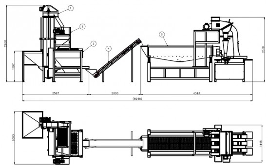 Almond shelling and cleaning line